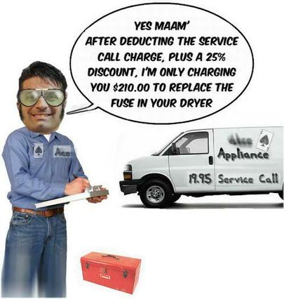 Appliance repair service call charges in the Antelope Valley, CA